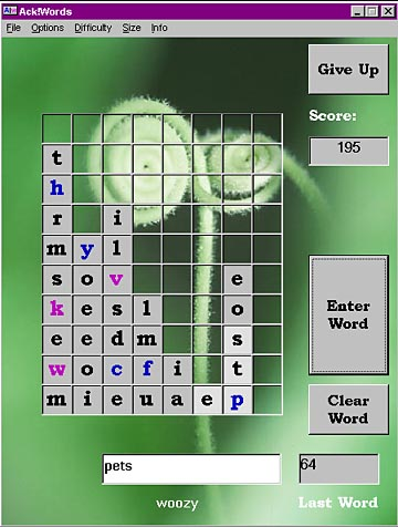Ack!words - An new kind of word puzzle game.